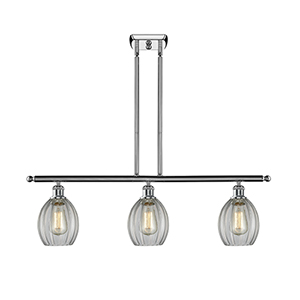 Eaton Polished Chrome Three-Light Island Pendant with Clear Fluted Sphere Glass