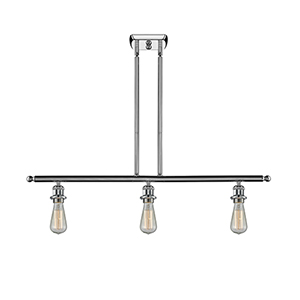 Bare Bulb Polished Chrome Three-Light LED Island Pendant