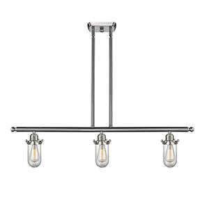 Kingsbury Brushed Satin Nickel Three-Light LED Island Pendant with Clear Globe Glass