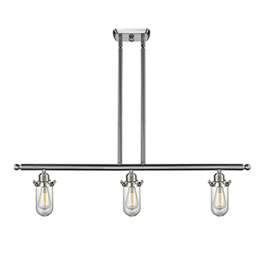 Kingsbury Brushed Satin Nickel Three-Light Island Pendant with Clear Globe Glass
