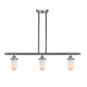 Kingsbury Brushed Satin Nickel Three-Light LED Island Pendant with Matte White Cased Globe Glass