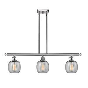 Belfast Brushed Satin Nickel Three-Light LED Island Pendant with Clear Seedy Sphere Glass