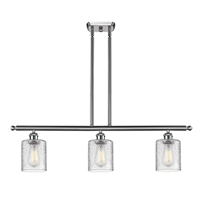 Cobbleskill Brushed Satin Nickel Three-Light LED Island Pendant with Clear Ripple Drum Glass
