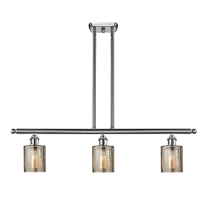 Cobbleskill Brushed Satin Nickel Three-Light LED Island Pendant with Mercury Drum Glass