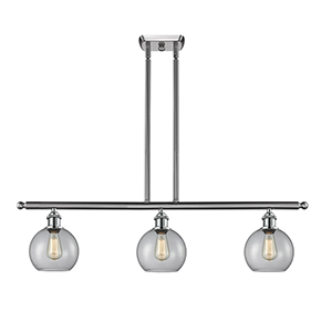 Athens Brushed Satin Nickel Three-Light Island Pendant with Clear Globe Sphere Glass