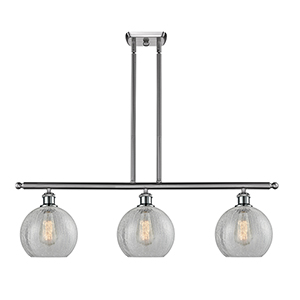 Athens Brushed Satin Nickel Three-Light LED Island Pendant with Clear Crackle Globe Sphere Glass