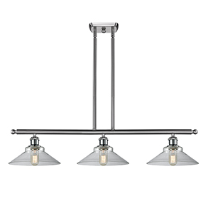 Disc Brushed Satin Nickel Three-Light LED Island Pendant with Clear Cone Glass