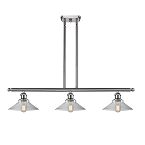 Disc Brushed Satin Nickel Three-Light Island Pendant with Clear Cone Glass