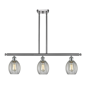 Eaton Brushed Satin Nickel Three-Light Island Pendant with Clear Fluted Sphere Glass