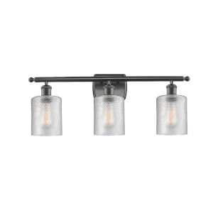Cobbleskill Oil Rubbed Bronze Three-Light LED Bath Vanity with Clear Ripple Glass