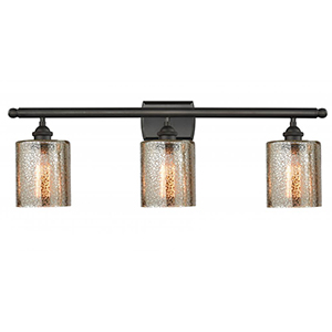 Cobbleskill Oiled Rubbed Bronze Three-Light LED Bath Vanity with Mercury Drum Glass
