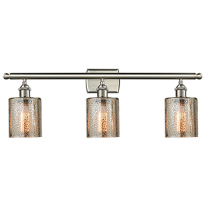 Cobbleskill Brushed Satin Nickel Three-Light Bath Vanity with Mercury Drum Glass