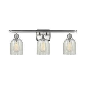 Caledonia Brushed Satin Nickel Three-Light LED Bath Vanity with Mouchette Glass