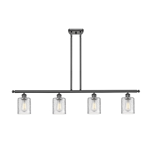 Cobbleskill Oiled Rubbed Bronze Four-Light LED Island Pendant with Clear Ripple Drum Glass