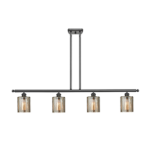 Cobbleskill Oiled Rubbed Bronze Four-Light LED Island Pendant with Mercury Drum Glass