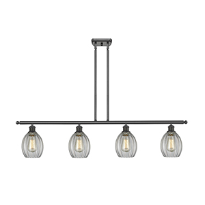 Eaton Oiled Rubbed Bronze Four-Light LED Island Pendant with Clear Fluted Sphere Glass
