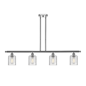 Cobbleskill Polished Chrome Four-Light LED Island Pendant with Clear Ripple Drum Glass