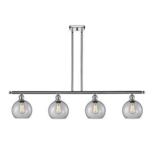 Athens Polished Chrome Four-Light LED Island Pendant with Clear Globe Sphere Glass