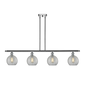 Athens Polished Chrome Four-Light LED Island Pendant with Clear Crackle Globe Sphere Glass
