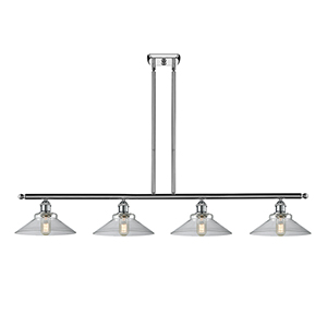 Disc Polished Chrome Four-Light LED Island Pendant with Clear Cone Glass