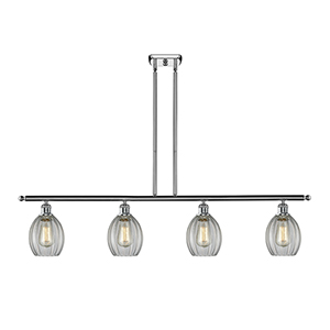 Eaton Polished Chrome Four-Light LED Island Pendant with Clear Fluted Sphere Glass