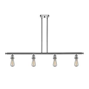 Bare Bulb Polished Chrome Four-Light LED Island Pendant