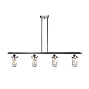 Kingsbury Brushed Satin Nickel Four-Light LED Island Pendant with Clear Globe Glass