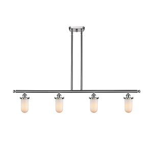Kingsbury Brushed Satin Nickel Four-Light LED Island Pendant with Matte White Cased Globe Glass