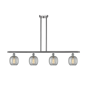 Belfast Brushed Satin Nickel Four-Light LED Island Pendant with Clear Seedy Sphere Glass