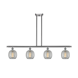 Belfast Brushed Satin Nickel Four-Light LED Island Pendant with Clear Crackle Sphere Glass