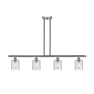 Cobbleskill Brushed Satin Nickel Four-Light LED Island Pendant with Clear Ripple Drum Glass