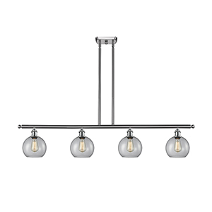 Athens Brushed Satin Nickel Four-Light LED Island Pendant with Clear Globe Sphere Glass