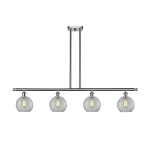 Athens Brushed Satin Nickel Four-Light LED Island Pendant with Clear Crackle Globe Sphere Glass