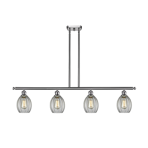 Eaton Brushed Satin Nickel Four-Light Island Pendant with Clear Fluted Sphere Glass