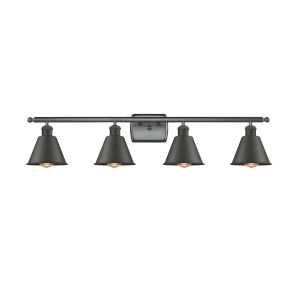 Ballston Matte Black 36-Inch Four-Light Bath Vanity with Matte Black Metal Shade