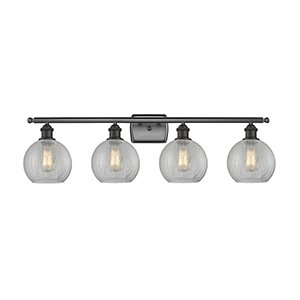Athens Oiled Rubbed Bronze Four-Light LED Bath Vanity with Clear Crackle Globe Sphere Glass