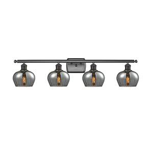 Fenton Oiled Rubbed Bronze Four-Light Bath Vanity with Smoked Fluted Sphere Glass