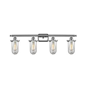 Kingsbury Polished Chrome Four-Light LED Bath Vanity with Clear Globe Glass