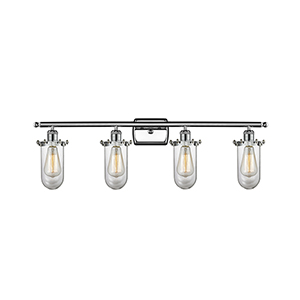 Kingsbury Polished Chrome Four-Light Bath Vanity with Clear Globe Glass