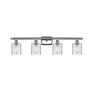 Cobbleskill Polished Chrome Four-Light LED Bath Vanity with Clear Ripple Drum Glass