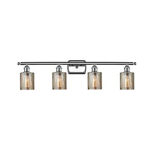 Cobbleskill Polished Chrome Four-Light LED Bath Vanity with Mercury Drum Glass