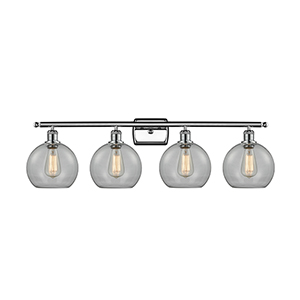 Athens Polished Chrome Four-Light LED Bath Vanity with Clear Globe Sphere Glass