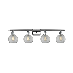 Athens Polished Chrome Four-Light LED Bath Vanity with Clear Crackle Globe Sphere Glass