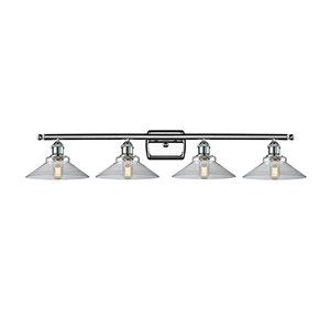 Disc Polished Chrome Four-Light Bath Vanity with Clear Cone Glass