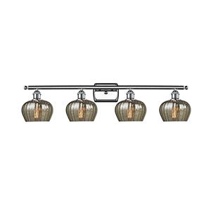 Fenton Polished Chrome Four-Light LED Bath Vanity with Mercury Fluted Sphere Glass