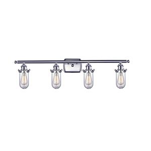 Kingsbury Brushed Satin Nickel Four-Light LED Bath Vanity with Clear Globe Glass