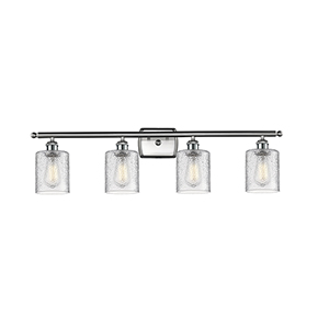 Cobbleskill Brushed Satin Nickel Four-Light LED Bath Vanity with Clear Ripple Drum Glass
