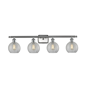 Athens Brushed Satin Nickel Four-Light Bath Vanity with Clear Crackle Globe Sphere Glass