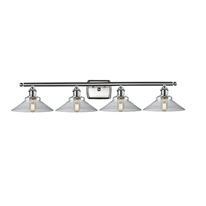 Disc Brushed Satin Nickel Four-Light LED Bath Vanity with Clear Cone Glass