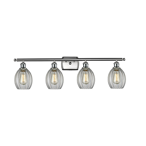 Eaton Brushed Satin Nickel Four-Light LED Bath Vanity with Clear Fluted Sphere Glass